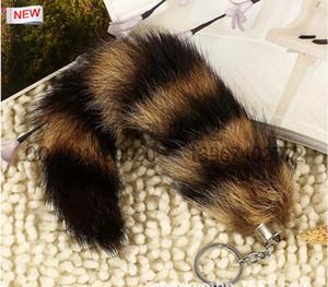 100% Ursfur Real Canadense Fox Fur Cauda Chaveiro Saco de Pendurar Tag Strap Chave Do Carro Cadeia Anel de Presente chaveiro do carro 25 cm