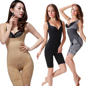Al por mayor-Nuevas Mujeres Señoras de Bambú de Carbón Micro-Fibra Shaper Adelgazar Completo Corsé Tummy Trimmer Body Suit Ropa Interior Fajas Q1110