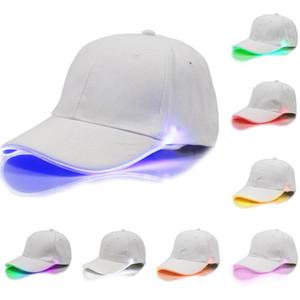 Los sombreros de béisbol más nuevos Gorra de fiesta luminosa Led Mujeres Hombres niños Hockey Snapback Gorras de baloncesto Unisex Sombrero de fibra óptica Visor Turismo WX-H01