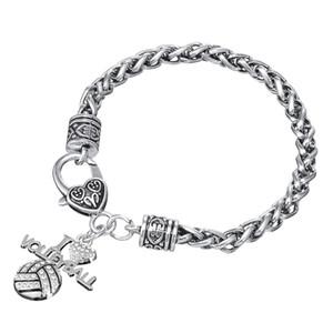 Spedizione gratuita Crystal I Love Volleyball Sports Charm Lobster Clag Bracciale Sports Fans Jewelry