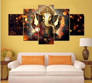 Oturma odası sanat hd baskı beş trunk tanrı modüler posterler ev süsleme duvar resimleri ganesha