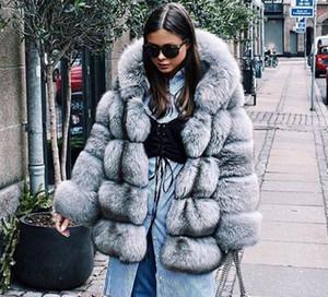 Yeni Geliş Kış Kalın Sıcak Kadınlar Kürk Kapşonlu Yapay Sliver Fox Kürk Bayan Faux Kürk Palto Palto