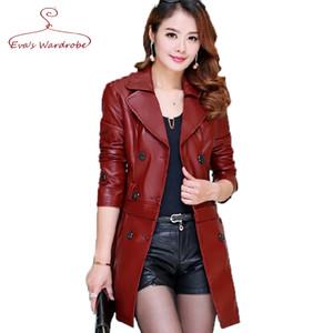 En gros-5XL Plus La Taille Femelle Longue Véritable Leathe Veste 2016 Nouveau Double-breasted Amovible Style Noir Rouge Suede Manteau jaqueta de couro