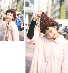 De alta qualidade nova mão-tecido multi-cor de lã de lã flanging chapéu pontudo, curling cap, adulto chapéu quente por atacado frete grátis