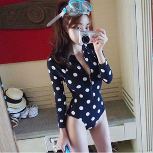 Wholesale- Mode White Dots Print maillot de bain Siamese Women Long Sleeve Swimwear Female Zipper Autumn Conservative Beach Suit 62324