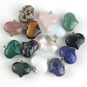 Очарование природных смешанные различные подвески драгоценный камень высокой полированной свободные бусины форма сердца посеребренные крюк камень кулон Fit ожерелье DIY