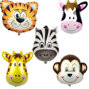 Гигантский лев, обезьяна, зебра, корова, тигр, голова жирафа, гелиевая фольга, воздушные шары, день рождения, животные, воздушные шары, тематическая вечеринка