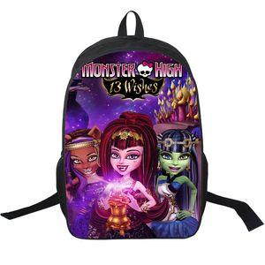 Monster High mochila bonito menina daypack espírito anime schoolbag mochila dos desenhos animados saco de escola do esporte ao ar livre pacote de dia