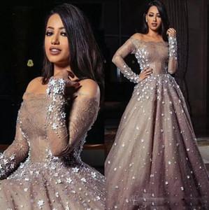 2021 사우디 아랍어 숄더 댄스 파티 드레스 섹시한 구슬 수제 아플리케 레이스 긴 소매 이브닝 가운 사용자 정의 만든 댄스 파티 드레스