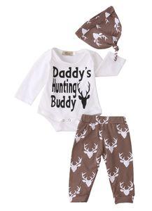 Mikrdoo Горячие рождественские костюмы Прелестный Baby Boy девушка Ромпер Deer серые брюки Охотничий Buddy печатных Наборы Hat 3шт Одежда нарядах 0-18M Папины