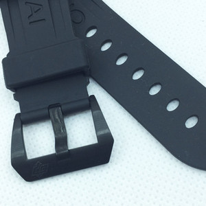 24mm 115mm 75mm Fashion Black Rubber Water proof Strap Black Brushed Screw Buckle For PAM LUNMINOR RADIOMIM Watch