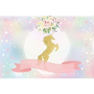 Or Licorne Fête D'anniversaire Photographie Toile De Fond Rose Ruban Numérique Fleurs Imprimées Bokeh Baby Shower Photo Fond pour Studio