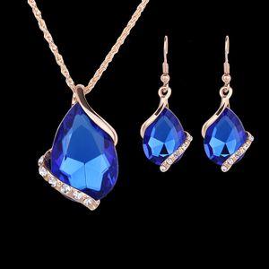 Серьги ожерелья наборы мода женщины элегантный 5 цветов капли воды стиль горный хрусталь позолоченные ювелирные наборы 2-х частей набор Оптовая JS127