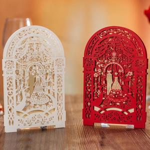 Creativo Carven Door Wedding Invitation Cards Bianco e rosso Hollow personalizzato partito stampabile biglietto d'invito con busta sigillata carta