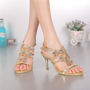 Rhinestones Ayakkabı Boyutu 11 Parti Dans Ayakkabı ile Renkli Rhinestones Ayakkabı Sandal Çiçek Kadınlar Sandalet Altın Bayanlar Gelin Düğün Sandalet