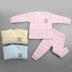 2017 otoño e invierno nuevos niños calientes engrosamiento ropa interior térmica conjunto 3 colores ropa de algodón para niños