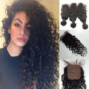 Al por mayor-Brasileño Virgin Wave Water Wave con cierre 4pcs / Lot Barato Virgin Brazillian Hair Con Cierre Water Wave Hair Products 1B