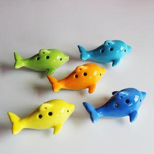 En gros Mignon 6 Trou Ceramique Dolphin Ocarina Jouet Éducatif Musical Instrument Animal Forme (avec ficelle) / Grands jouets musicaux Éducatifs
