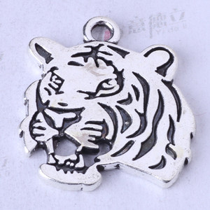 Ciondolo testa di tigre gioielli fai da te fit bracciali o collana d'argento antico / bronzo charms 100 pz / lotto 115z