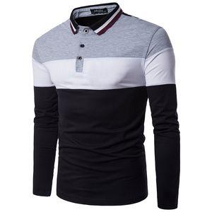 Polos Shirt Drei Farbkombinationen Kontrastfarbe Gestreiften Kragen Langarm Pullover Mens T Shirt Freies Schiff 2017 Casual Fashion
