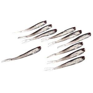 50 Adet / grup Balıkçılık Lures Yapay Yumuşak Yemler 100mm 3.7g Gerçekçi Kırmızı Gözler Balık Kokusu Kurşun Balık Lures