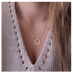 Kostenloser Versand Kreis Anhänger Halskette Ewigkeit Halskette Karma Unendlichkeit Gold minimalistischen Schmuck zierlich für immer Kreis Halskette Geschenk