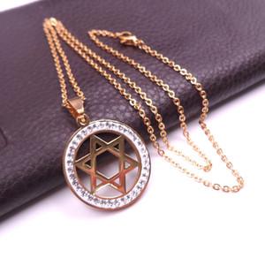 Goldener Stern von David Edelstahl Kristall Classic Charm mit 20-Zoll-Kettenhalskette