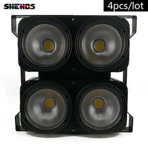 4pcs / lot Nueva Combinación Profesional 4x100W LED luz de antepecho 4eyes COB Cool / Warm White LED Wash Luz de Alta potencia DMX Etapa de Iluminación