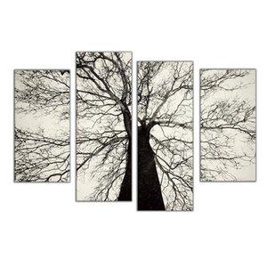 Famosas pinturas modernas blanco y negro árbol de invierno aceite pintura en aerosol arte del dolor decoración de la pared del hogar