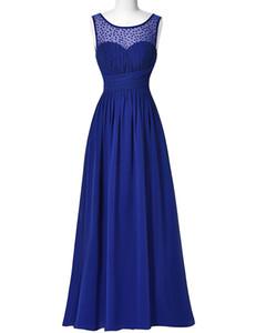 Scoop Neck Beaded Long Chiffon Bridesmaid Dress 2016 Sleeveless V-Back Evening Dress Strazz Ruched Wedding Party Dress