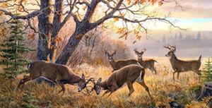 Emoldurado O Time de Sonho Um em, floresta de veados, Genuíno Handpainted Animal paisagem Arte pintura a óleo Canvas Museum Qualidade Multi tamanhos