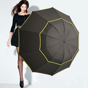 Haute Qualité Double Golf Parapluie Pluie Femmes Coupe-Vent Paraguas Alliage Squelette De Mode Non-Automatique Business grand parapluie Hommes