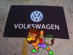 bandiera nera della squadra da corsa del volkswagen, bandiera nera volkswagen, bandiera brandnew della bandiera di 90 * 150CM polyster