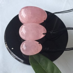 3 teile / satz Rosenquarz Kristall Eier Seil Yoni heilende Eier Massage werkzeug Becken Kegel Übung Vaginalen Anziehen Ball für Gesundheitswesen