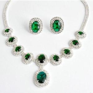 vert * couleur champagne diamant pierre mariage mariée dame ensemble collier earigns