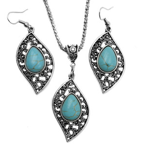 Fashion Turquoise jewelry necklace earrings set Antique Silver leaves Turquoise Pendant necklaces+earring jewelry 2pcs Set for women