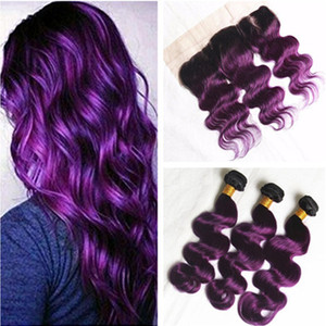 Peruvian Purple Ombre Hair Earaves Ear 귀에 전두엽 바디 웨이브 1B 퍼플 2Tone Ombre 3Bundles with Full Lace Frontal Closure 13x4