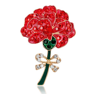 Red Flower Enamel Crystal Rhinestone Poppy Brooch Pins UK Remembrance Day New Arrival 2016 DHL free shipping
