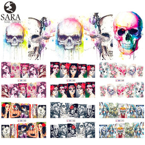 Wholesale- Sara Nail Salon 1pcs Nail Stickers Halloween Designs Skull Patterns Sexy Design Lady Beauty Full Tip Nails Art Decals BN181-192