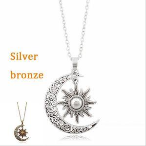 Новый урожай Sun Moon кулон ожерелье серебряный полумесяц цепи ожерелья Для женщин ювелирные изделия подарок