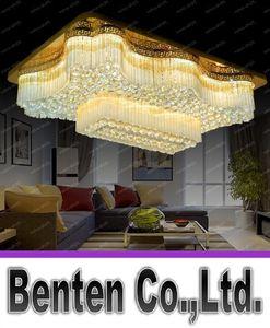 Новый европейский стиль Прямоугольная K9 Кристалл Лампы светодиодные потолочные светильники Dinning Room Hotel Villas Luxury Прямоугольная Гостиная Освещение LLFA