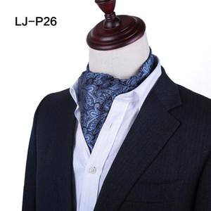 남성 빈티지 자카드 폴리 에스테르 넥타이 페이즐리 무늬 폴카 도트 Ascot Wedding Prom 넥 넥타이 럭셔리 영국 스타일 남성 넥타이 정장 장식