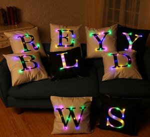 45cm * 45cm, la dernière tendance de la taie d'oreiller alphabet LED, canapé, chaise, lit, salon, chambre / livraison gratuite