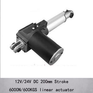 """Actuadores lineales de capacidad de carga máxima 6000n / 600kgs de 8 """"/ 200 mm con velocidad de 5 mm / sy dc 12v / 24v"""