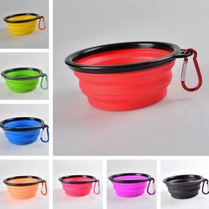 سيليكون طي وعاء الحيوانات الأليفة مع تسلق خطاف تسلق أطعمة الكلاب صحن قطط قابل للطي صحن ماء