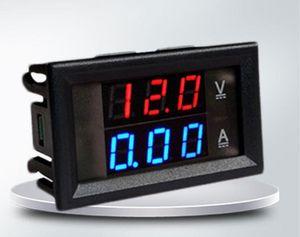 العرض الرقمية DC الفولتميتر مقياس التيار الكهربائي DC 100V 10A الجهد الحالي متر التيار الكهربائي DC4.5V-30V الأحمر الأزرق LED مزدوج