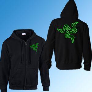 Atacado-Game Team Razer moletom com capuz zipper moletom outono inverno casaco de lã quente algodão Zip Up Outerwear com capuz E-Sport Suit