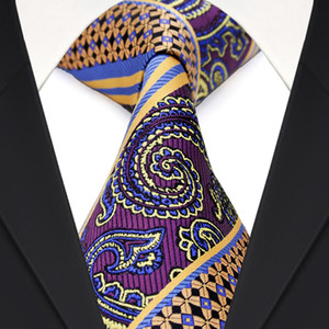 Wholesale E9 Mens Ties Multicolor Purple Yellow Blue Paisley Stripes Neckties 100% Silk Free Shipping