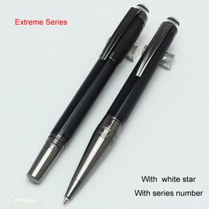 Grátis frete-luxo preto resina preciosa roller ball caneta / caneta esferográfica com cinza clipe escola escritório papelaria escrita marca MB canetas