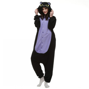 Japón Anime Cosplay pijamas Animal Midnight Cat Kitty Night Gatito gato negro Kigu Cosplay Disfraz Unisex Adulto Onesie ropa de dormir mono del gato